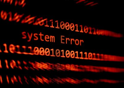 Technology binary code number data alert System Error message on display screen / Computer network problem error software concept – selective focus